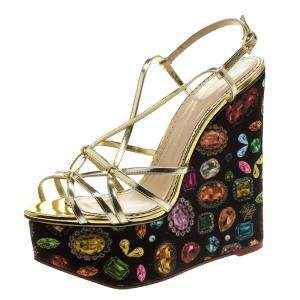 Charlotte Olympia Metallic Gold Leather Elizabeth Jewel Print Wedge Sandals Size 40