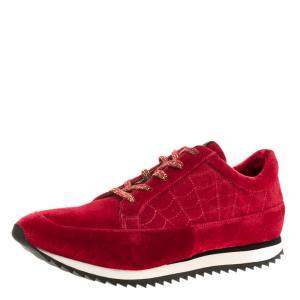 Charlotte Olympia Red Velvet Work It Web Sneakers Size 40