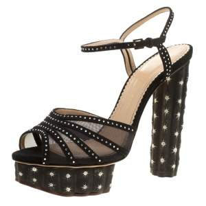 Charlotte Olympia Black Suede And Mesh Cactus Crystal Studded Ankle Strap Platform Sandals Size 41