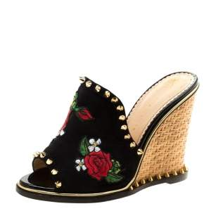 Charlotte Olympia Black Suede Floral Embroidered Gail Spike Studded Wedge Slides Size 36