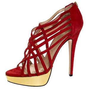 Charlotte Olympia Red Suede Strappy Platform Sandals Size 40