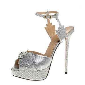 Charlotte Olympia Silver Textured Leather Sky Scraper Crystal Embellished Peep Toe Ankle Strap Platform Sandals Size 38
