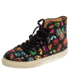 Charlotte Olympia Multicolor Jewel Print Canvas High Top Sneakers Size 36