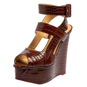 Charlotte Olympia Brown Croc Embossed Leather Marcelle Wedge Sandals Size 36