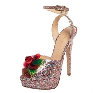 Charlotte Olympia Multicolor Coated Glitter Sabrina Cherry Leaf Platform Ankle Strap Sandals Size 35.5