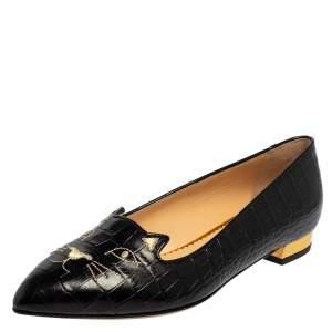 Charlotte Olympia Black Leather Kitty Flats Size 40.5
