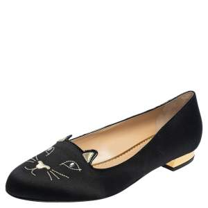 Charlotte Olympia Black Satin Emoticat Cheeky Kitty Ballet Flats Size 40