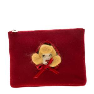 Charlotte Olympia Red Wool Red Riding Hood Felt Pouch
