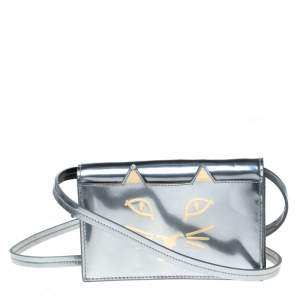 Charlotte Olympia Silver Patent Leather Feline Crossbody Bag