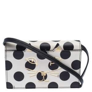 Charlotte Olympia Black/White Polka Dot Leather Feline Crossbody Bag