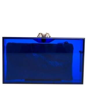 Charlotte Olympia Blue Perspex Pandora Classic Box Clutch