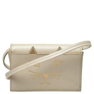 Charlotte Olympia Cream Leather Feline Crossbody Bag
