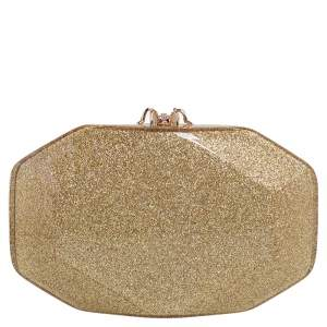 Charlotte Olympia Gold Perspex Spider Lock Clutch