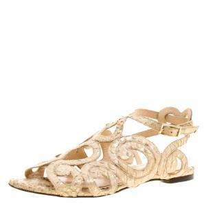 Charlotte Olympia Beige Python Embossed Leather Elisa Sandals Size 36