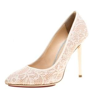 Charlotte Olympia Beige Lace and Satin Monroe Pointed Toe Pumps Size 39