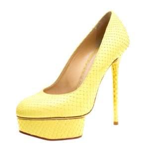 Charlotte Olympia Yellow Python Priscilla Platform Pumps Size 38
