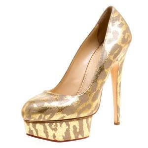 Charlotte Olympia Grey/Gold Leather Platform Pumps Size 38