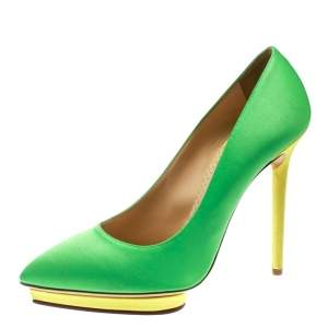 Charlotte Olympia Green Satin Debonaire Pointed Toe Platform Pumps Size 40