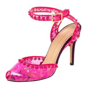 Charlotte Olympia Neon Pink Lace Print PVC Soho Studded Ankle Strap Sandals Size 37