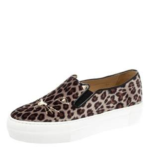 Charlotte Olympia Multicolor Leopard Print Velvet Cool Cats Slip On Sneakers Size 36