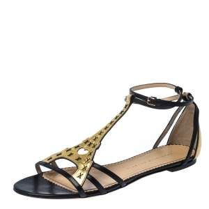Charlotte Olympia Black/Gold Leather Parisienne Eiffel Tower Flat Sandals Size 41