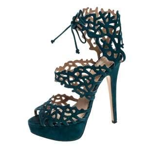 Charlotte Olympia Green Laser Cut Suede Belinda Peep Toe Platform Sandals Size 37.5