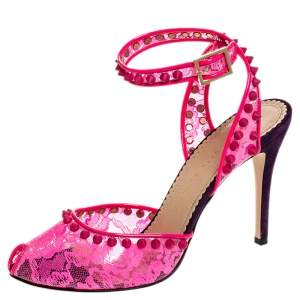 Charlotte Olympia Neon Pink Lace Print PVC Soho Studded Ankle Strap Sandals Size 38.5