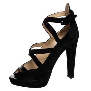 Charlotte Olympia Black Caged Suede and Patent Leather Gladys Platform Sandals Size 41