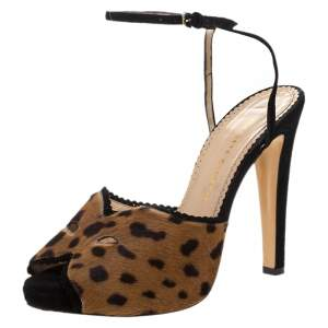 Charlotte Olympia Brown Leopard Print Calf Hair Platform Ankle Strap Sandals Size 41