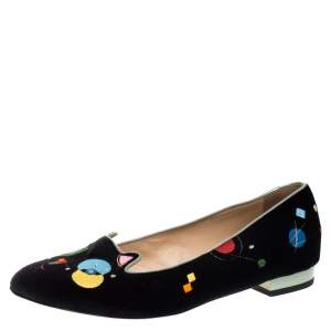 Charlotte Olympia Black Velvet Abstract Kitty Ballet Flats Size 40