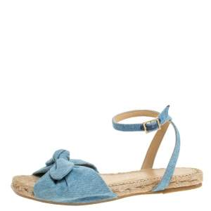 Charlotte Olympia Blue Denim Fabric Marina Knot Ankle Strap Flat Sandals Size 35