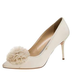 Charlotte Olympia Cream Canvas Desiree Pom Pom Pumps Size 41