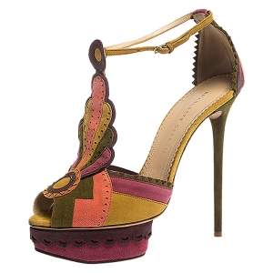 Charlotte Olympia Multicolor Suede Sunset Ankle Strap Platform Sandals Size 41