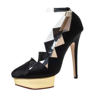 Charlotte Olympia Black Satin And PVC Origami Ankle Strap Platform Pumps Size 38.5