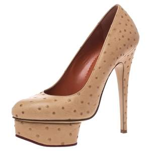 Charlotte Olympia Beige Ostrich Embossed Leather Dolly Platform Pumps Size 38