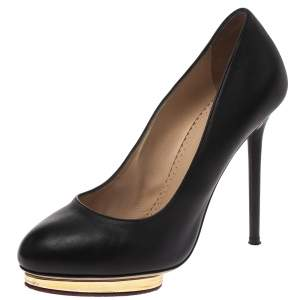 Charlotte Olympia Black Leather Dolly Platform Pumps Size 38.5