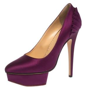 Charlotte Olympia Purple Satin Paloma Fan Pleat Platform Pumps Size 38