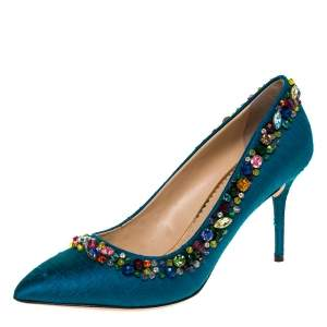 Charlotte Olympia Teal Silk Crystal Embellished Semiprecious Pumps Size 40