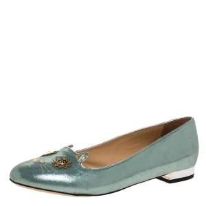 Charlotte Olympia Light Blue Glitter Nubuck Kitty Ballet Flats Size 41