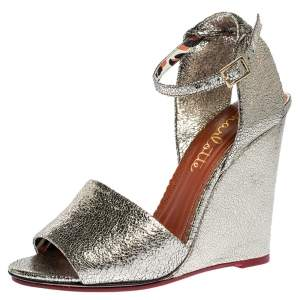 Charlotte Olympia Metallic Gold Crackled Leather Mischievous Wedge Sandals Size 40