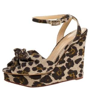 Charlotte Olympia Brown/Beige Printed Canvas Fabric Bow Platform Ankle Strap Sandals Size 38