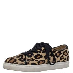 Charlotte Olympia Beige Leopard Print Pony Hair Purrfect Low Top Sneakers Size 37