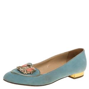Charlotte Olympia Blue Suede Birthday Zodiac Gemini Ballet Flats Size 40