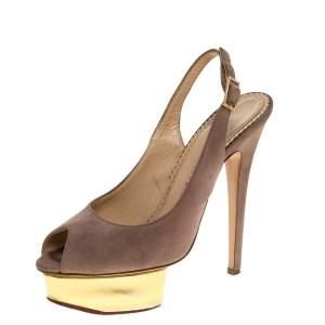 Charlotte Olympia Beige Suede Slingback Peep Toe Platform Sandals Size 37.5