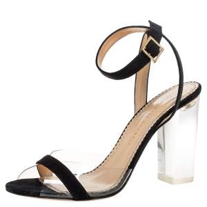 Charlotte Olympia Black Suede And PVC Block Heel Ankle Strap Sandals Size 41