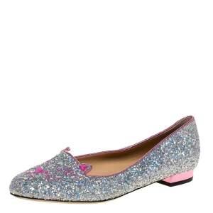 Charlotte Olympia Silver Glitter Cat Ballet Flats Size 41
