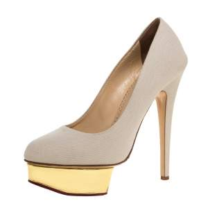 Charlotte Olympia Beige Canvas Dolly Platform Pumps Size 39