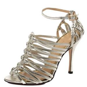 Charlotte Olympia Silver Shimmer Leather Diva Caged Sandals Size 36