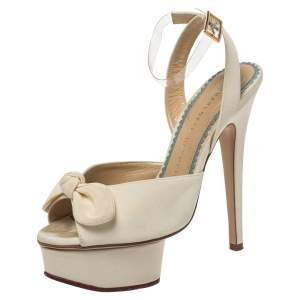 Charlotte Olympia Cream Satin Bridal Edition Serena Bow Platform Sandals Size 35