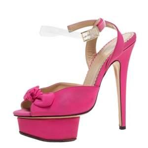 Charlotte Olympia Pink Satin Serena Bow Ankle Strap Platform Sandals Size 36.5